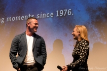 Luke Evans and Elisabeth Moss sharing a laugh during the Q&A after the second screening of High-Rise at TIFF. September 14, 2015
